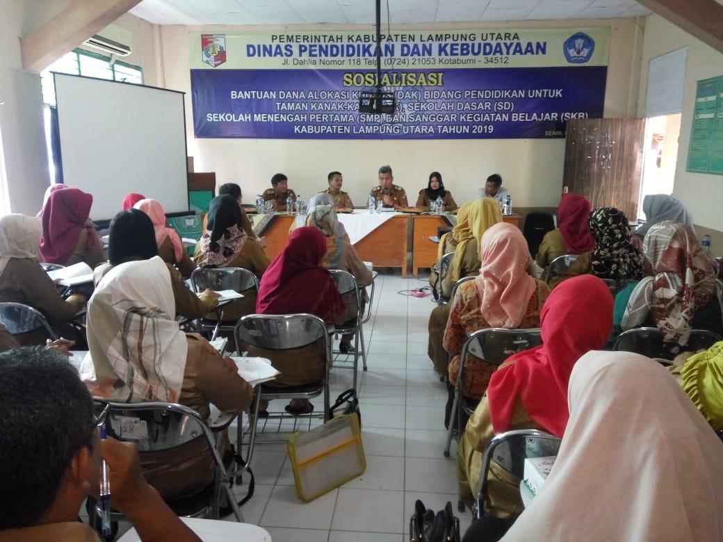 Disdikbud Lampung Utara Adakan Sosialisasi Bantuan DAK