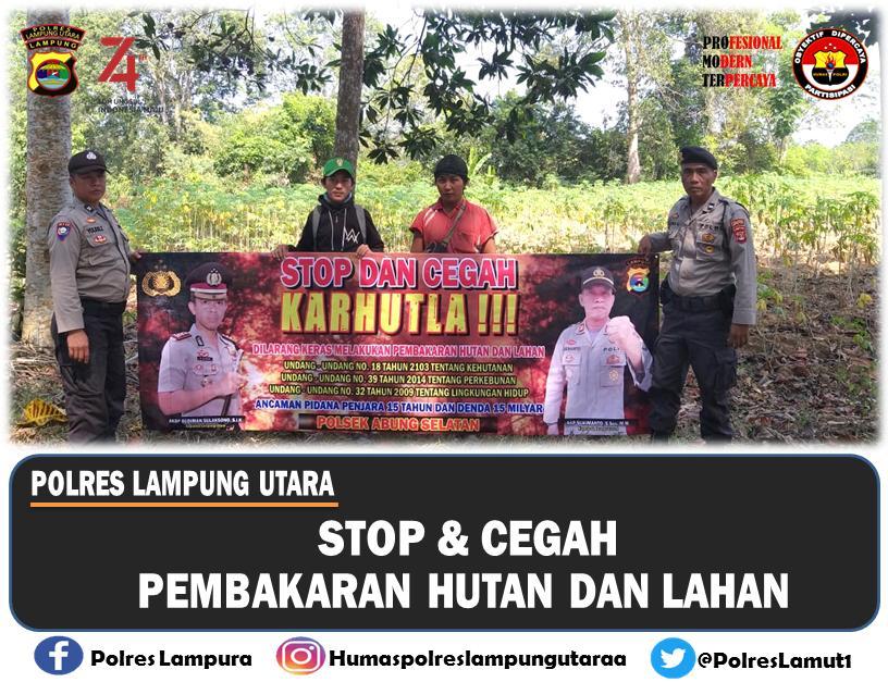 Polres Lampung Utara Himbau Warga Untuk Tidak Bakar Hutan