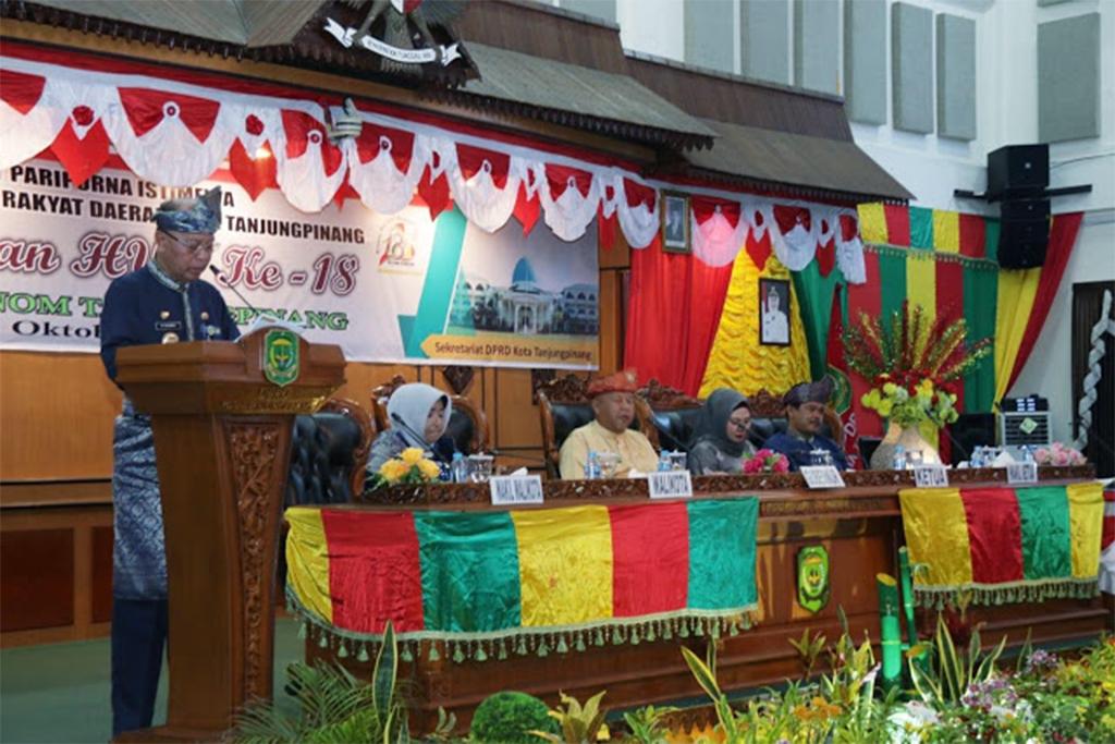 Walikota Tanjungpinang, H. Syahrul dalm sambutannya memaparkan capaian pembangunan pada pemerintahannya di tahun 2019