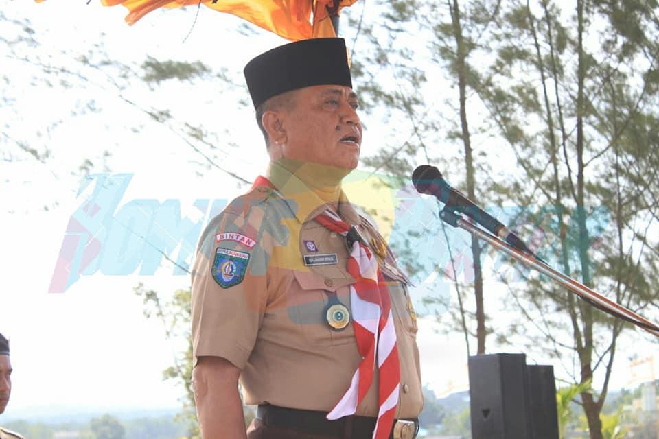 Wakil Bupati Bintan Drs. Dalmasri Syam, MM selaku Ketua Kwarcab Bintan Membuka Perkemahan Besar KWARCAB Bintan Tahun 2019