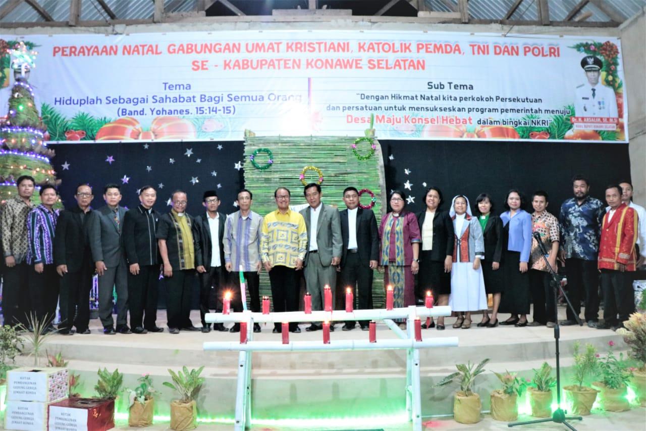 Bupati Konsel Hadiri Natal Gabungan Umat Kristiani Bersama TNI – Polri di Konda