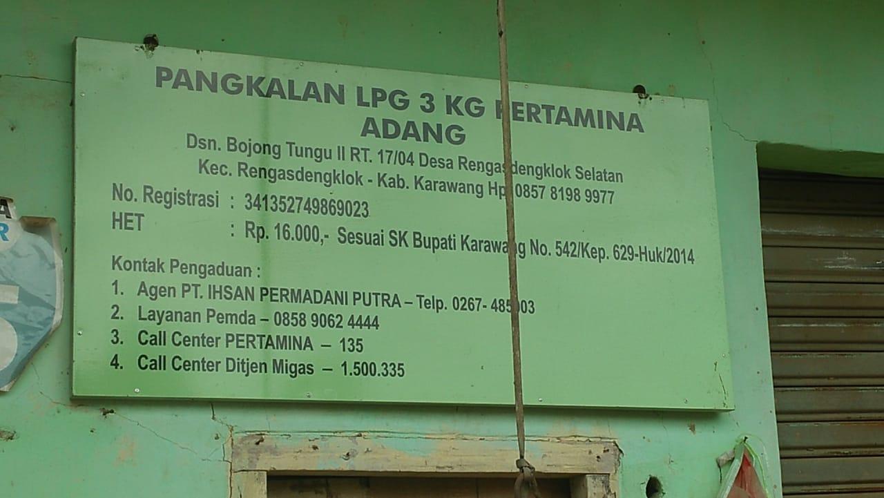 Selain Menjual Ke Luar Wilayah, Pangalan LPG 3 Kg Milik Adang Diduga, Menjual Diatas HET