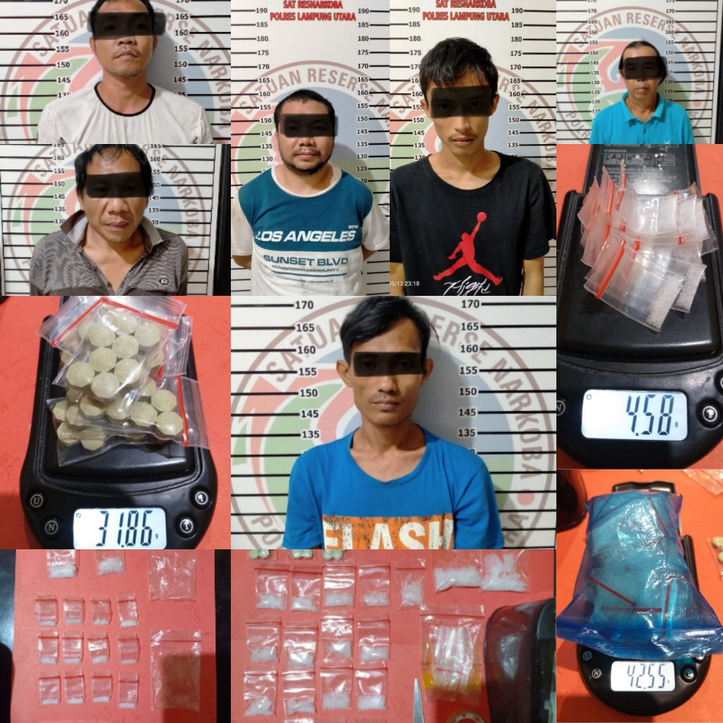 Dalam waktu dua jam 6 Orang terduga Bandar Sabu diringkus Polres Lampung Utara