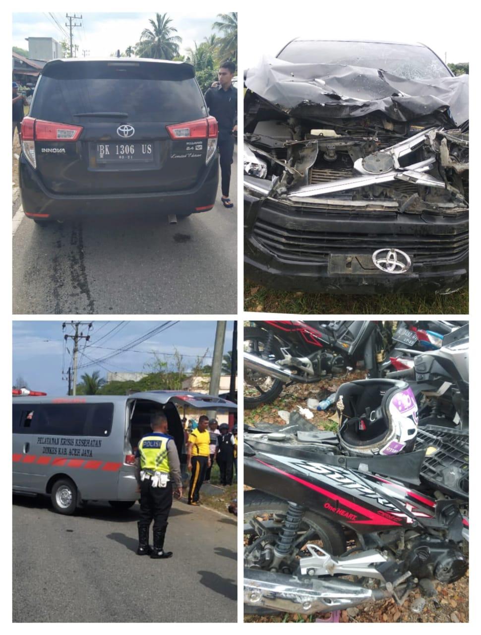 Diduga Berbelok Arah Secara Tiba Tiba, Pengendara Motor Meninggal Dunia Tertabrak Innova di Aceh Jaya