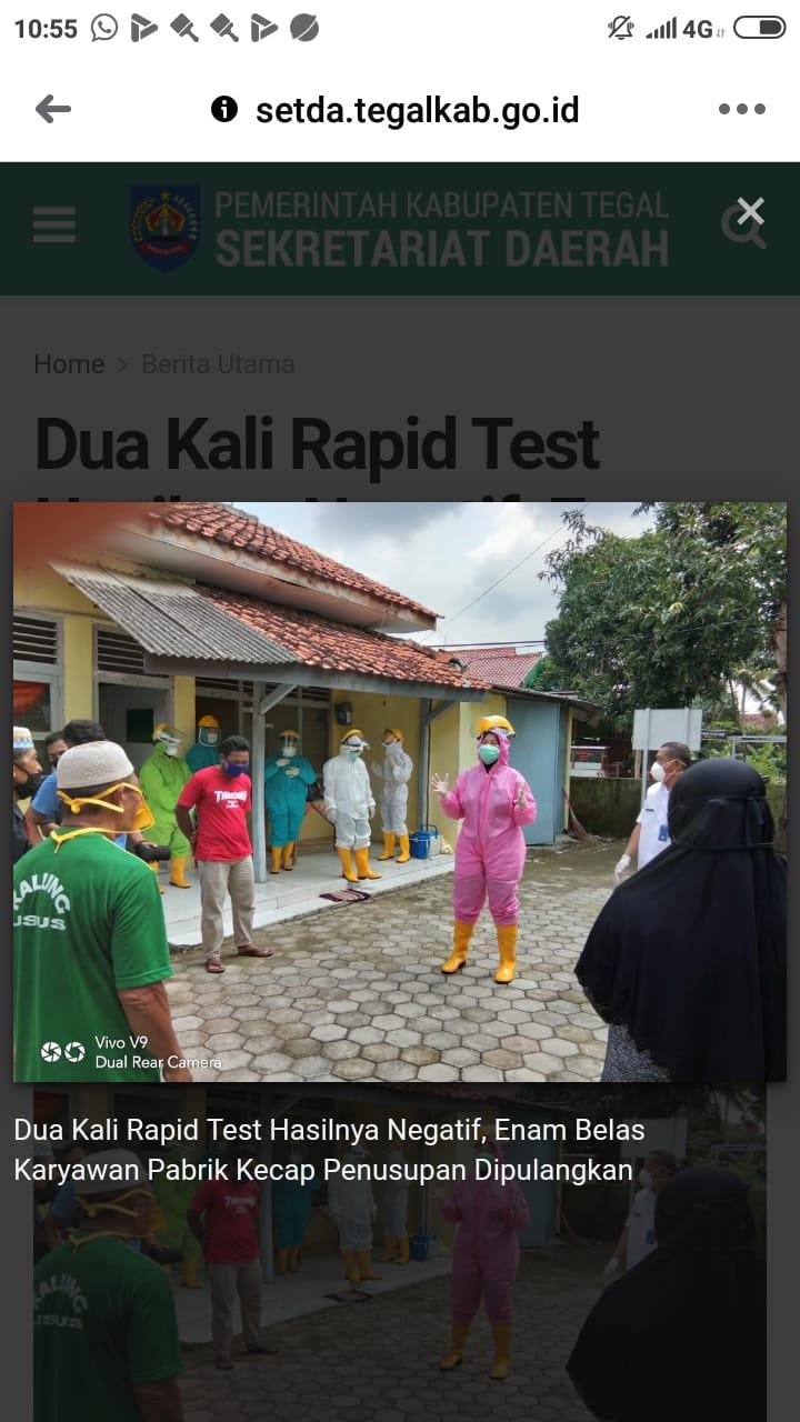 Dua Kali Rapid Test Hasilnya Negatif, Enam Belas Karyawan Pabrik Kecap Penusupan Dipulangkan