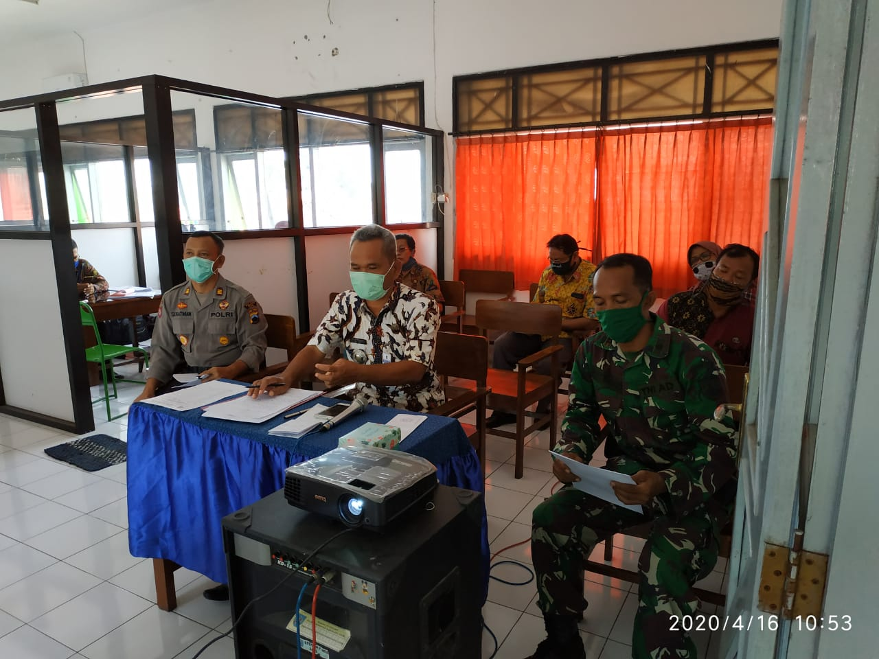 Danramil 10/Dukuhturi Kapten Cba Sutikno, Ikuti Vidcon Dengan Bupati Tegal