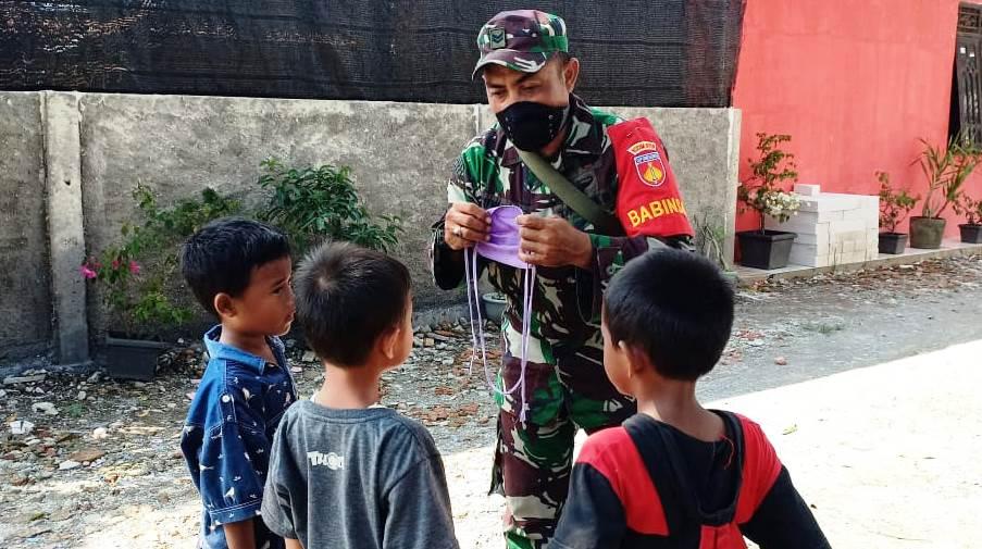 Terus Ajarkan Anak-Anak di Desa Sasaran TMMD, Agar Antisipatif di Musim Corona