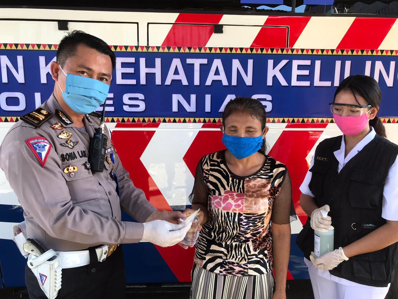 Cegah Covid -19, Polres Nias Adakan Pelayanan Kesehatan Keliling Gratis