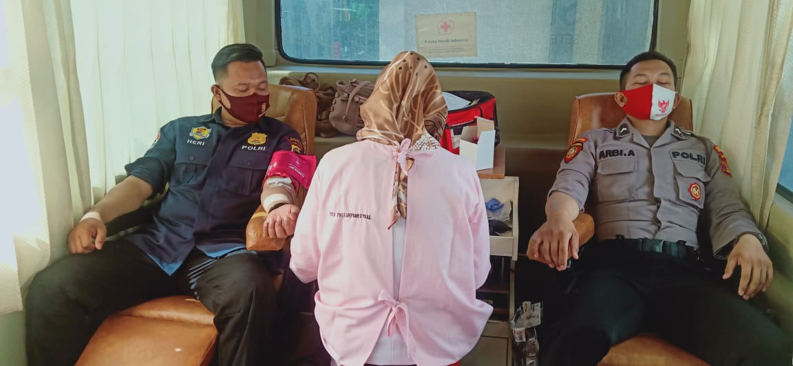 Peringati Hari Bhyangkara Ke- 74, Polres Lampung Utara Gelar Donor Darah Bersama