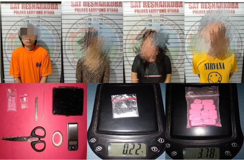 Satresnarkoba Polres Lampung Utara Amankan Empat Pelaku Penyalahgunaan Narkoba, Satu diantaranya PNS