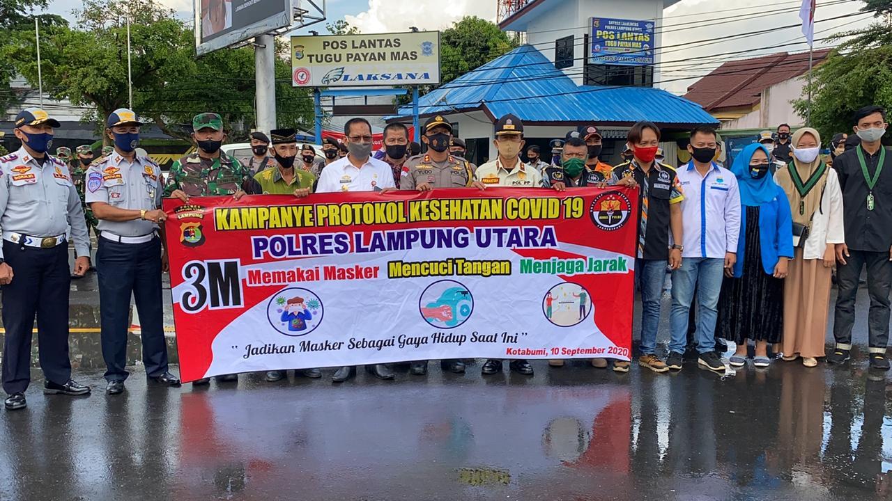 Kampanye Protokol Kesehatan Polres Lampura Ajak Masyarakat Pakai Masker