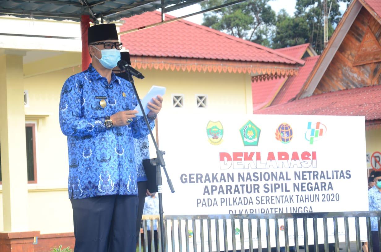 Pjs Bupati Lingga Gelar Apel Deklarasi Gerakan Netralitas Aparatur Sipil Negara