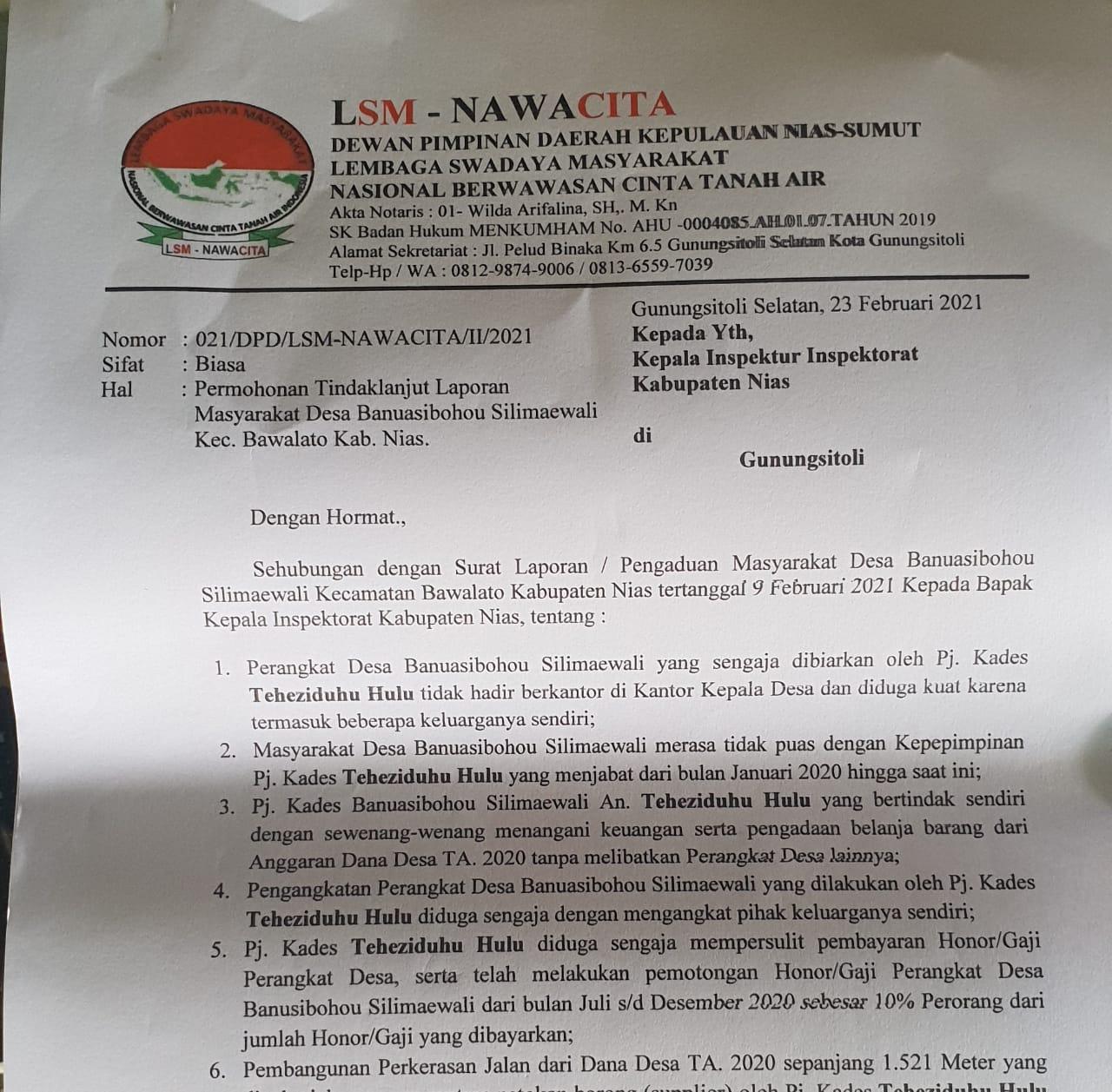 DPD LSM-NAWACITA Kepulauan Nias-Sumut Menyurati Inspektorat Kabupaten Nias