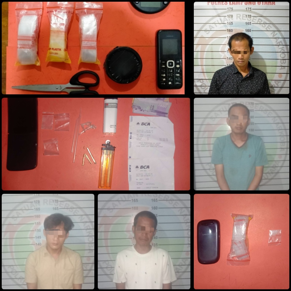 Delapan Pelaku Penyalahgunaan Narkoba Berhasil diringkus Satres Narkoba Polres Lampura