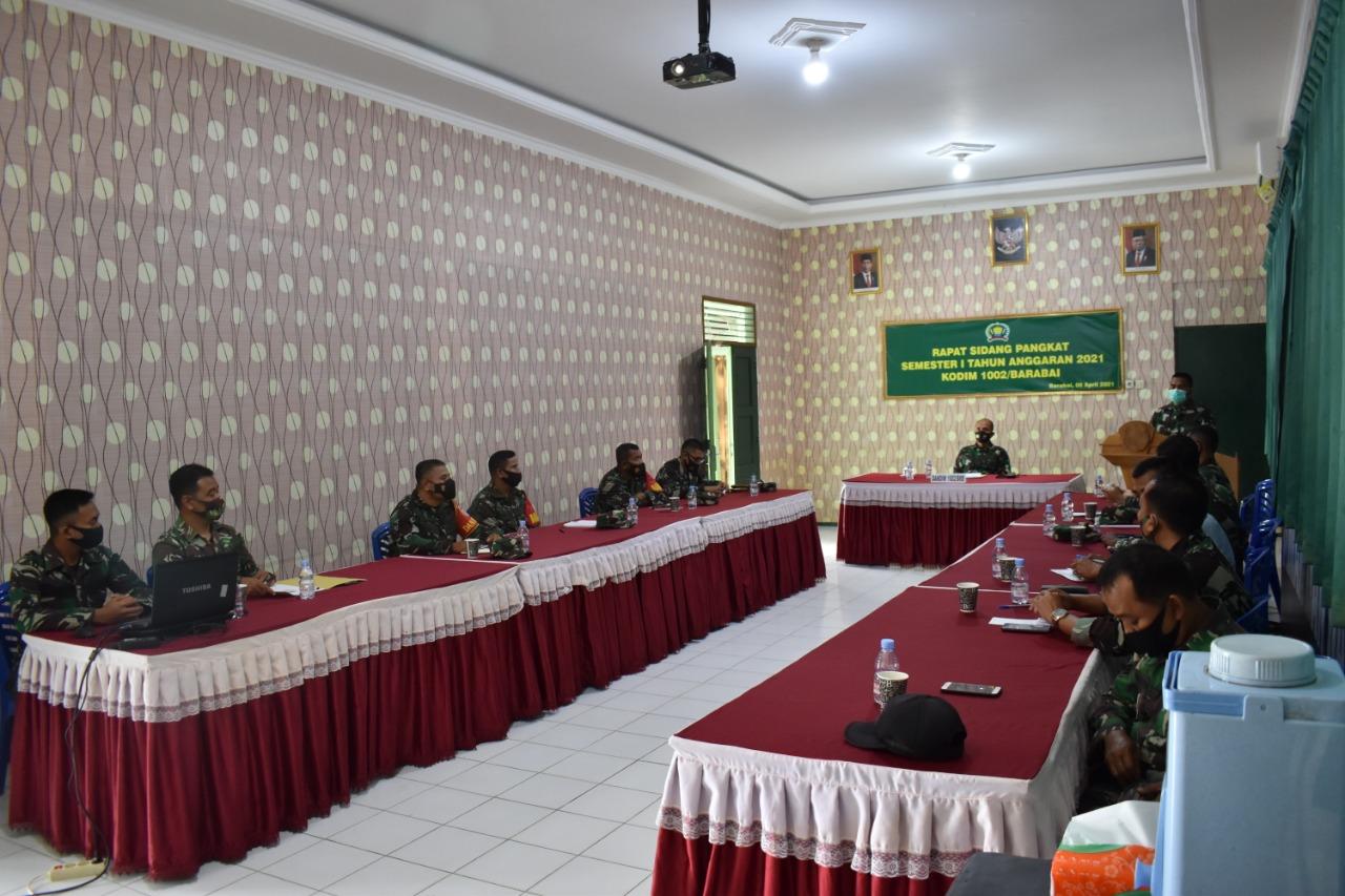 Dandim 1002/Barabai Pimpin Sidang Pangkat Semester 1 tahun 2021