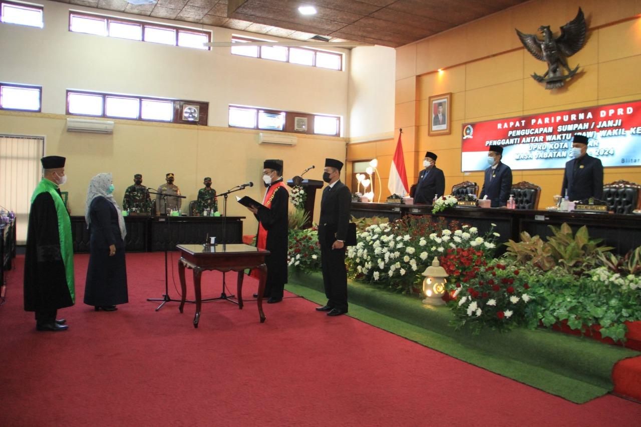 Paripurna PAW Wakil Ketua, Pimpinan DPRD Kota Blitar Kembali Lengkap