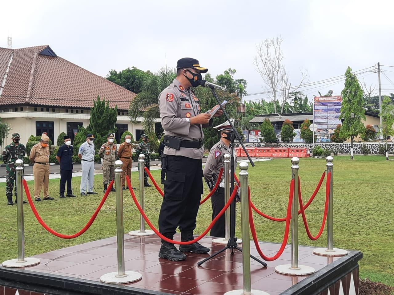 Polres Lampung Utara Gelar Apel Pasukan Ops Keselamatan Krakatau 2021