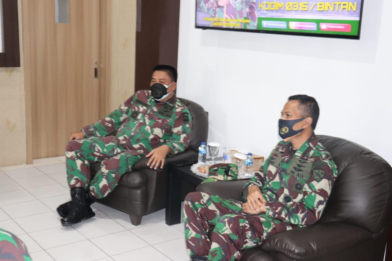 Dandim 0315/Bintan Sambut Kunjungan Silaturrahmi Danlanud RHF Tanjungpinang