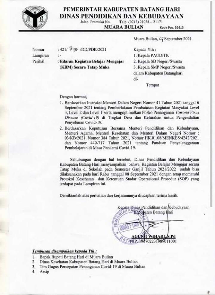 PPKM di Batang Hari Level IV Turun Menjadi Level lll, Sekolah Akan Segera dimulai