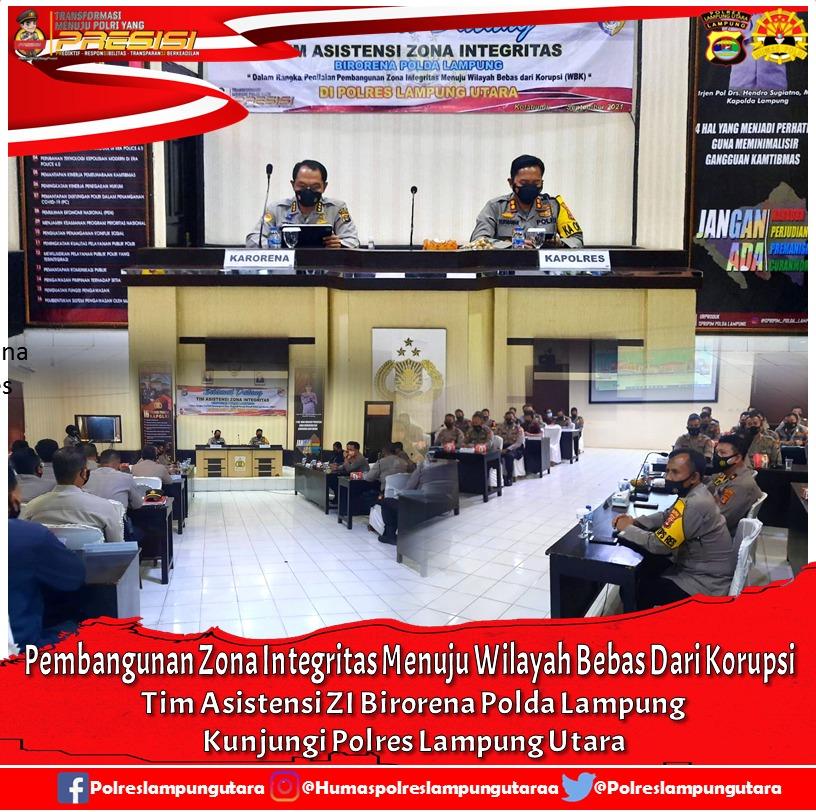 Tim Asistensi ZI Birorena Polda Lampung Kunjungi Polres Lampung Utara